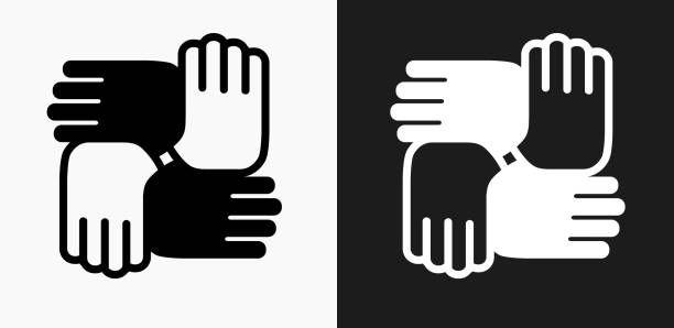 Hands United Icon on Black and White Vector Backgrounds vector art illustration