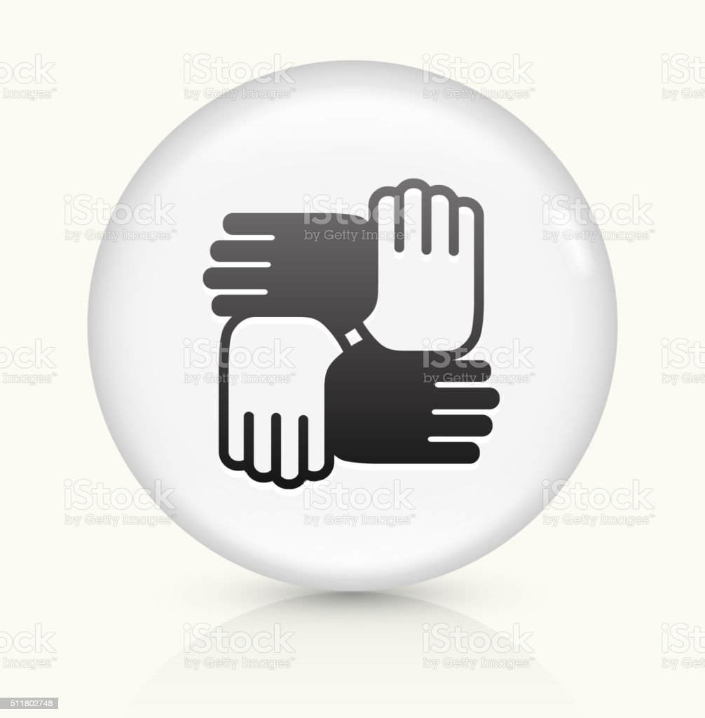 Hands United icon on white round vector button vector art illustration