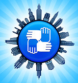 Hands United on Modern Cityscape Skyline Background. The main image depicted is placed on a shiny round button. The button is in the center of the illustration. a detailed 100% vector cityscape skyline is placed around the circumference of the button and includes various office, residential condominium and commercial real estate buildings. There is a blue sky background with a star burst glow rendered behind the buildings. The image is ideal for displaying city life concepts and ideas.
