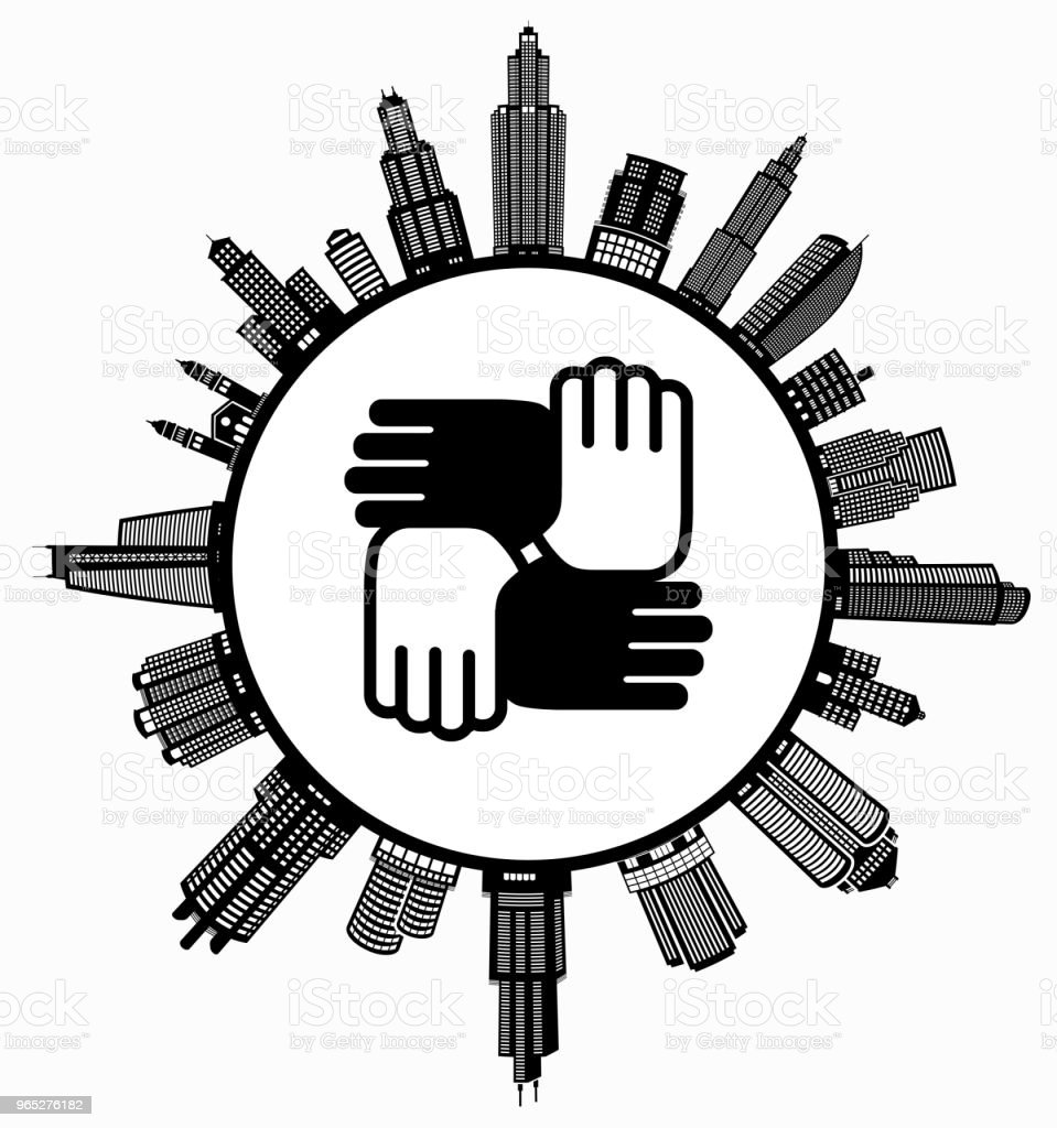 Hands United on Modern Cityscape Skyline Background royalty-free hands united on modern cityscape skyline background stock vector art & more images of architecture
