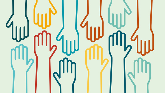 Hands up colorful icon vector design