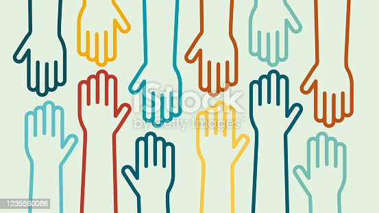 istock Hands up colorful icon vector design 1235560086