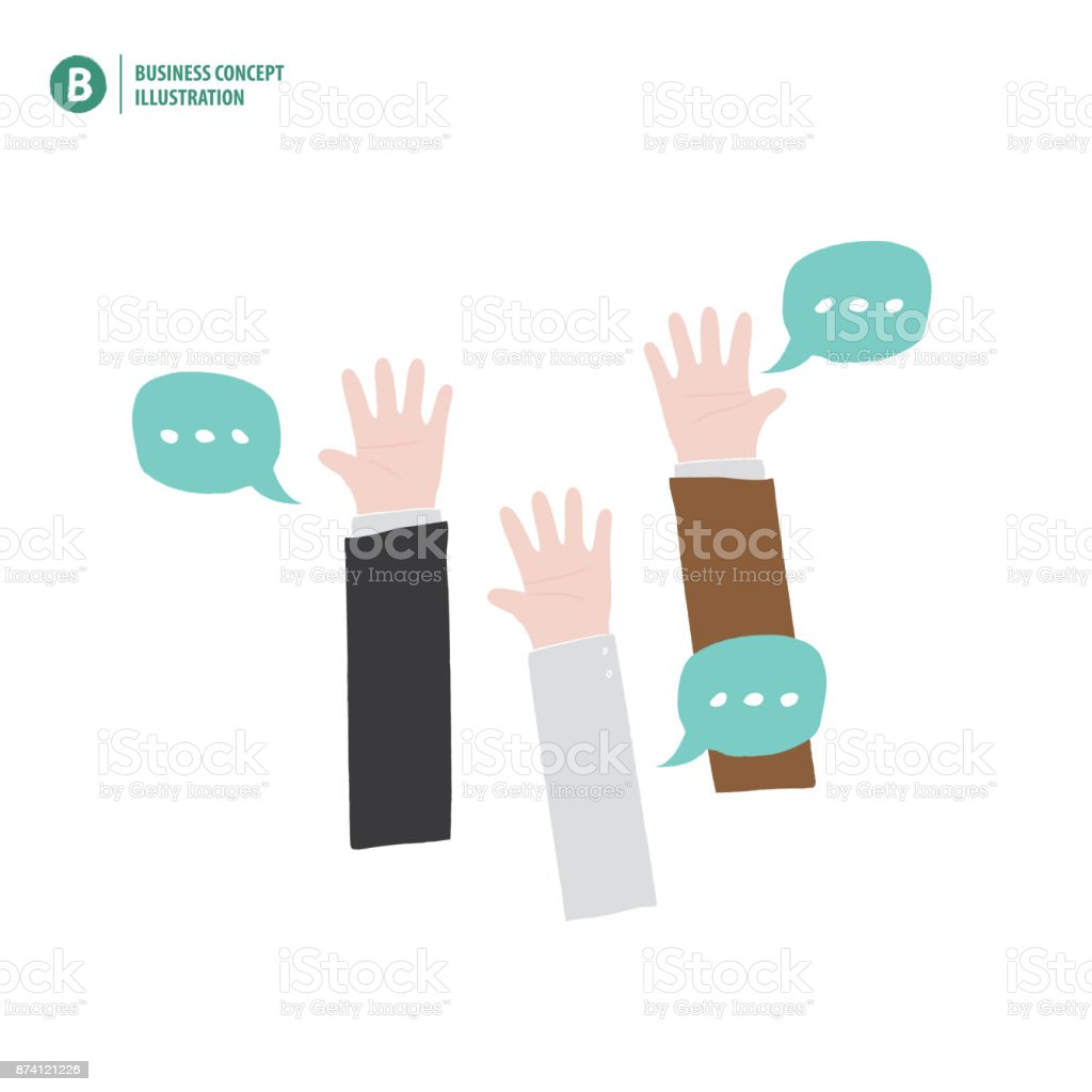 Hands up of businessman meaning vote or asking or answering or agreement on white background illustration vector. Business concept. vector art illustration