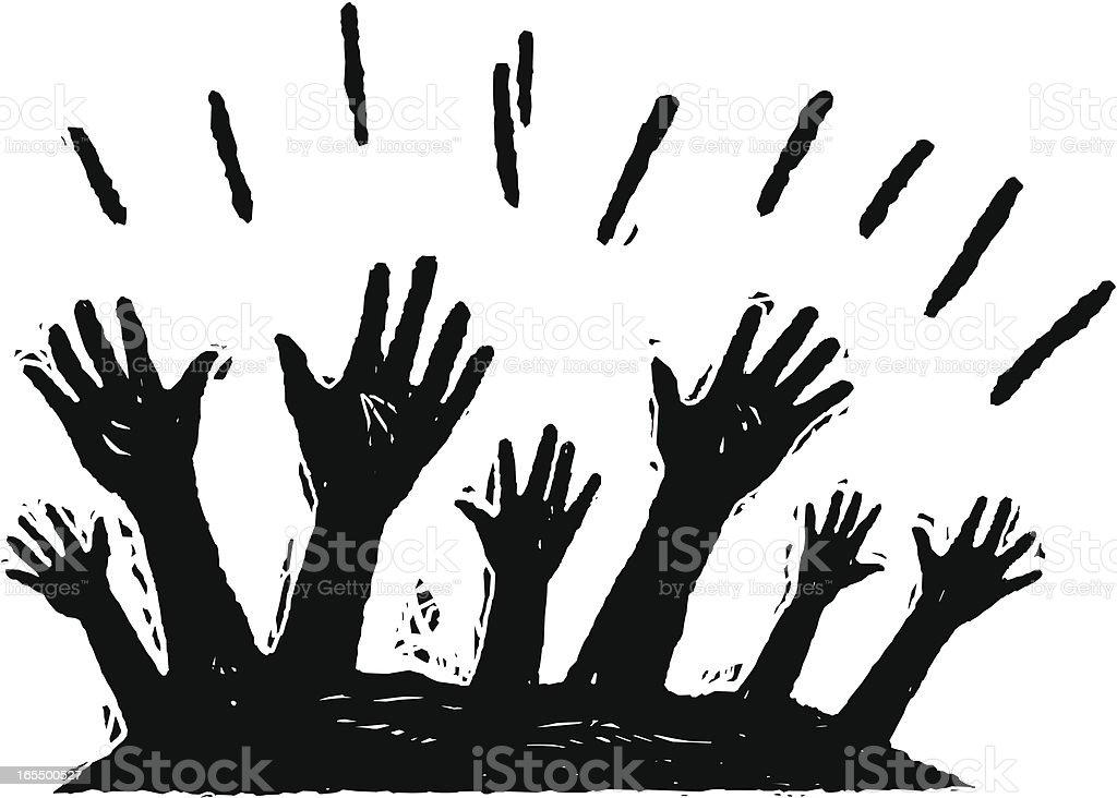 Hands Up vector art illustration