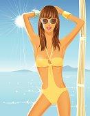 Girl standing on the tropical beach. Plus Ai&JPG.