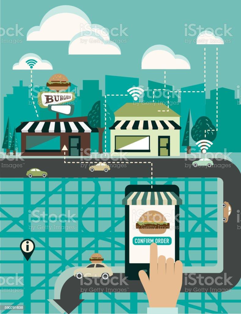 Hands using a smartphone app to order food delivery hands using a smartphone app to order food delivery — стоковая векторная графика и другие изображения на тему Беспроводная технология Стоковая фотография