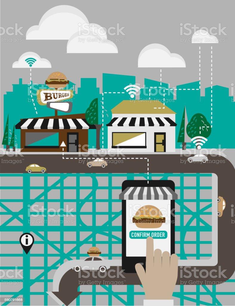 Hands using a smartphone app to order food delivery royaltyfri hands using a smartphone app to order food delivery-vektorgrafik och fler bilder på app