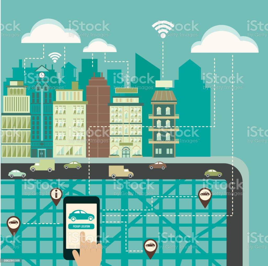 Hands using a smartphone in a smart city concept. hands using a smartphone in a smart city concept — стоковая векторная графика и другие изображения на тему Беспроводная технология Стоковая фотография