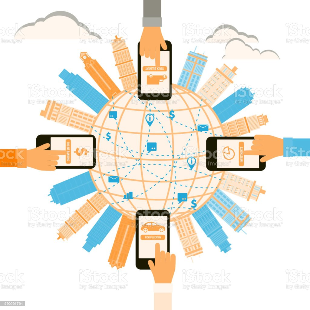 Hands using a smartphone in a smart city concept. royaltyfri hands using a smartphone in a smart city concept-vektorgrafik och fler bilder på app