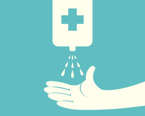 自動消毒剤液体スプレー機を使用して手 - 消毒点のイラスト素材/クリップアート素材/マンガ素材/アイコン素材