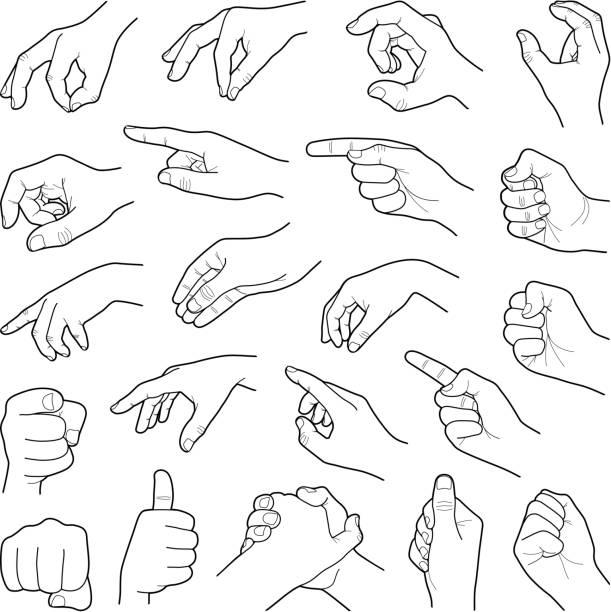 stockillustraties, clipart, cartoons en iconen met handen - wijzen handgebaar