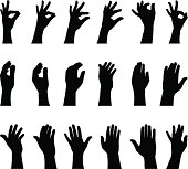 Hands gesture silhouettes