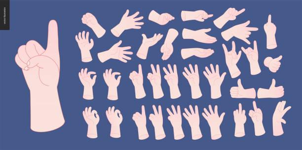 stockillustraties, clipart, cartoons en iconen met handen vector set - gebaren