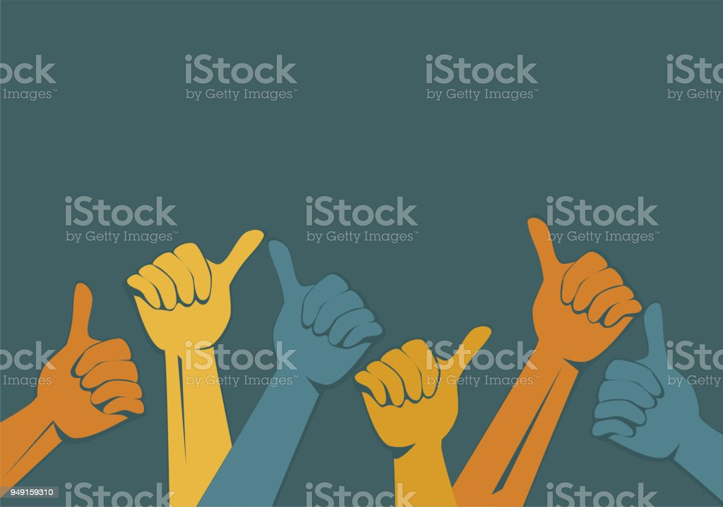 Hands vector. Thumbs up vector art illustration