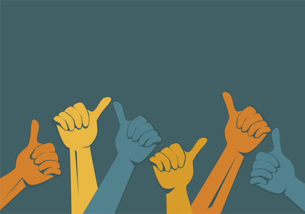 Hands vector. Thumbs up vector art illustration