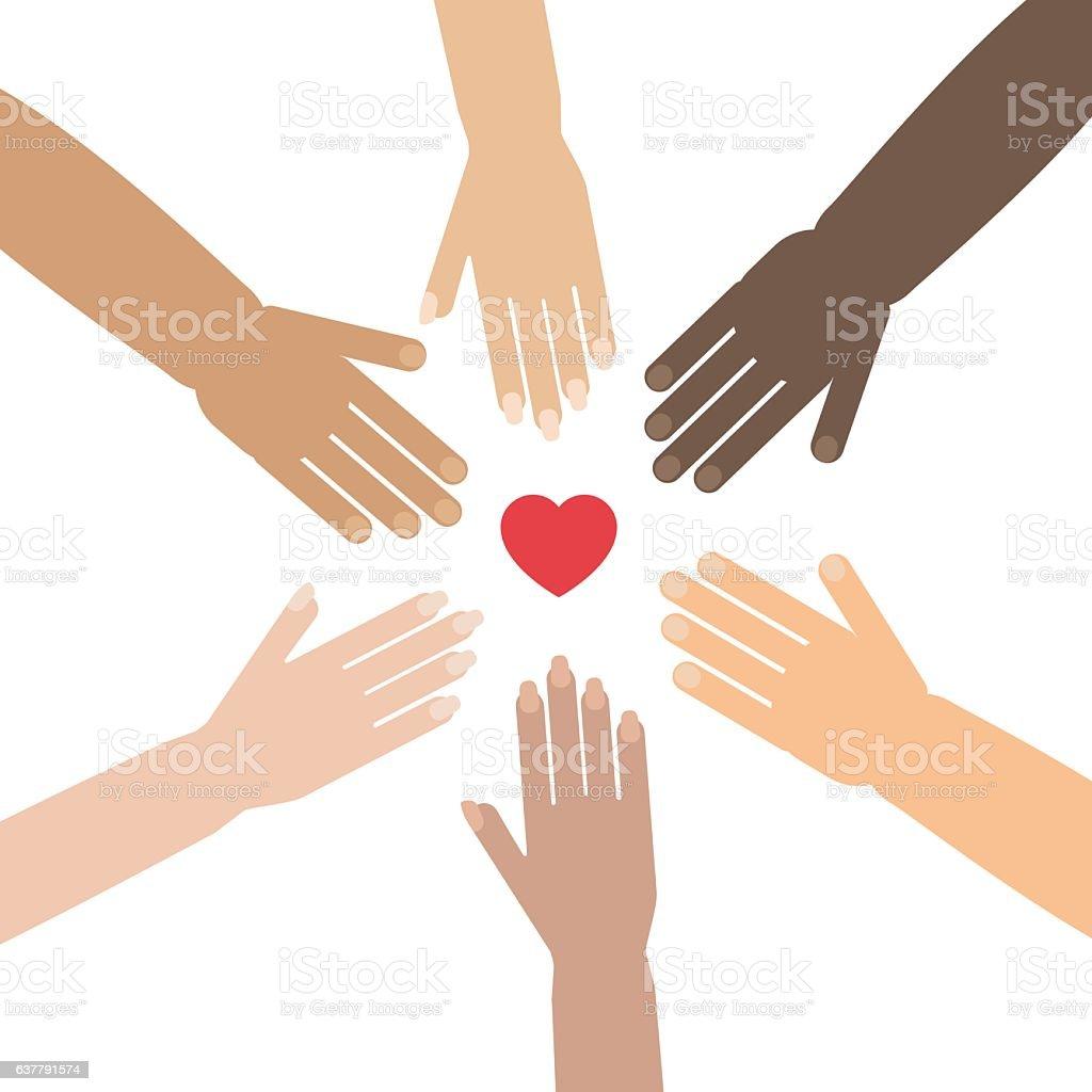 hands volunteer forming a circle vector art illustration