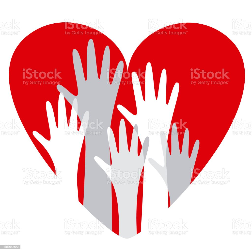 Hands voting for love vector art illustration
