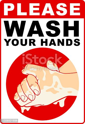 Vector illustration of Wash Your Hands warning sign.