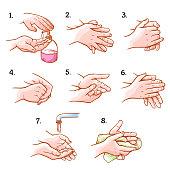 Hands washing medical instructions set, sanitary procedure. Hospital care guide poster, instructional scheme. Vector illustration