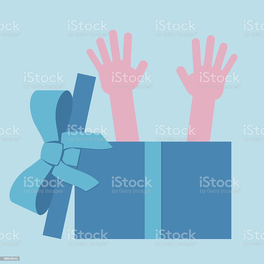 Hands waving out of a parcel royalty-free hands waving out of a parcel stock vector art & more images of blue
