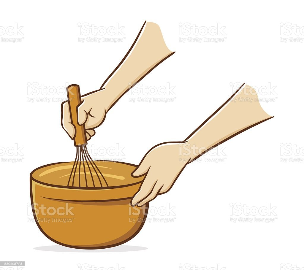 Hands whisking vector art illustration