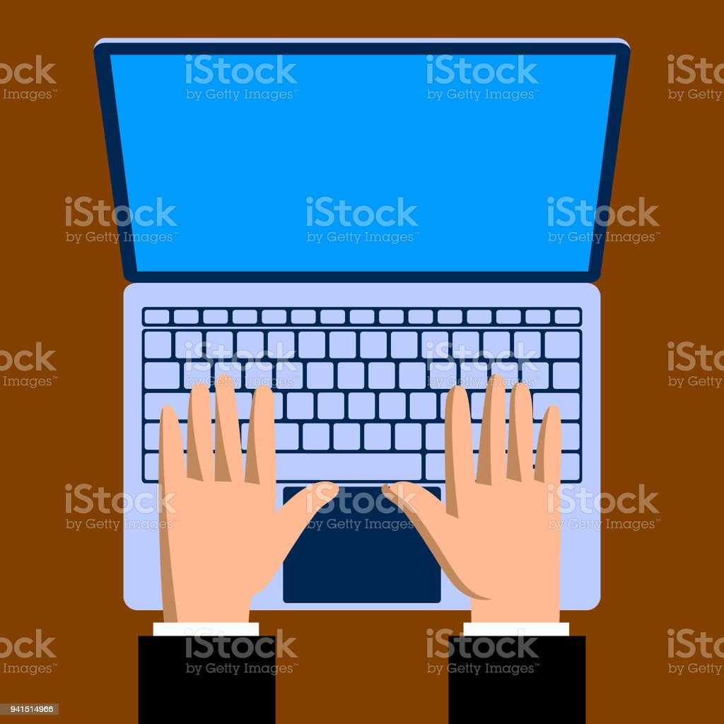 Hands with a laptop computer notebook in flat style vector art illustration