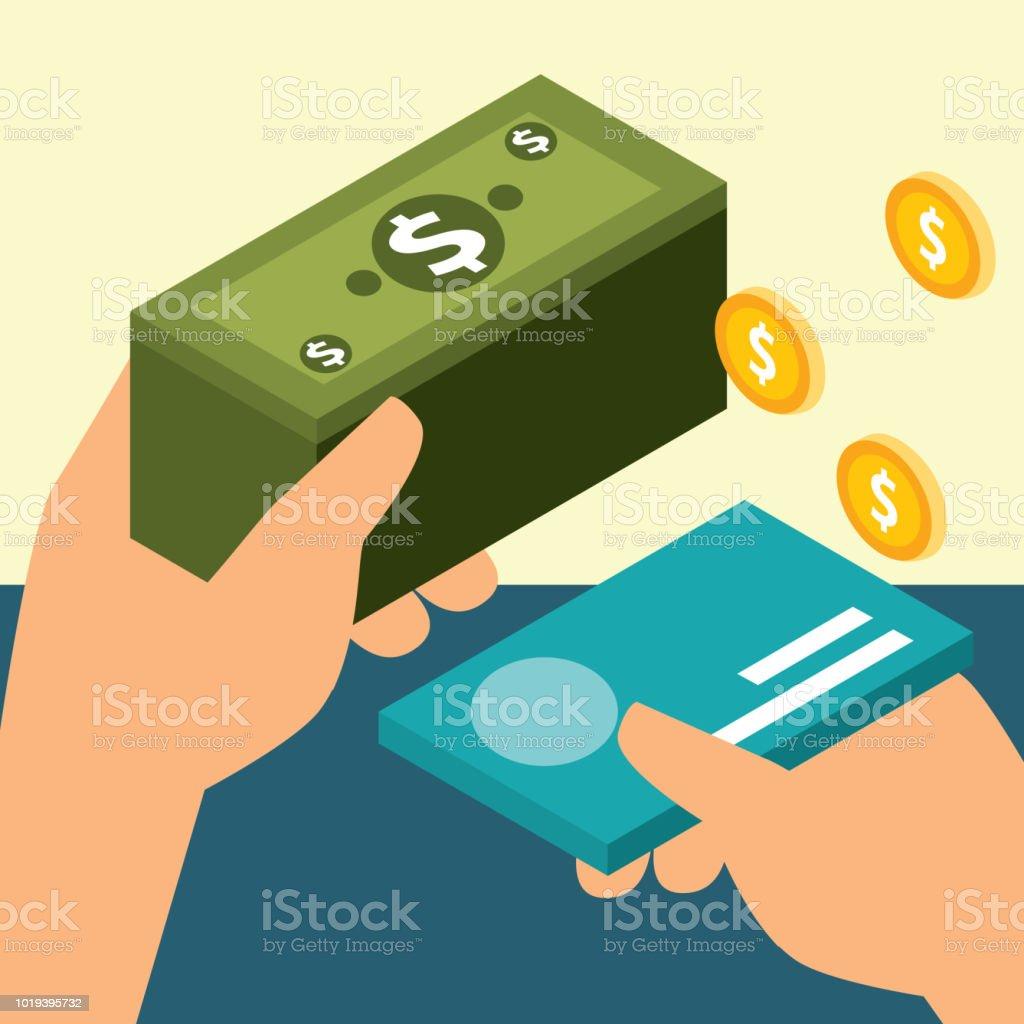 manos con tarjeta y billete monedas dinero del Banco isométrica - ilustración de arte vectorial