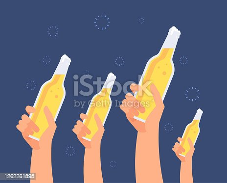 Hands with beer bottles. Excited girls and men toasting beer. Hanging out friends vector concept