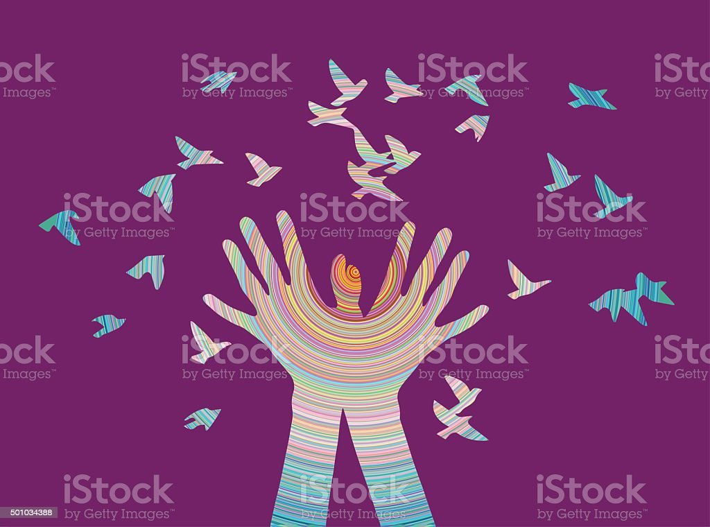 Hands with bird in color vector art illustration
