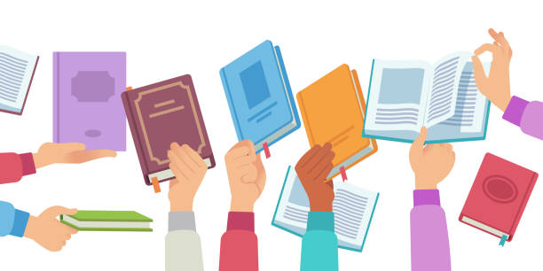 Hands with books. People holding and reading book and magazine, public library literature reader. Academic knowledge vector concept Hands with books. People holding and reading book and magazine, public library literature reader. Academic knowledge vector learning information in opening textbook concept encyclopaedia stock illustrations
