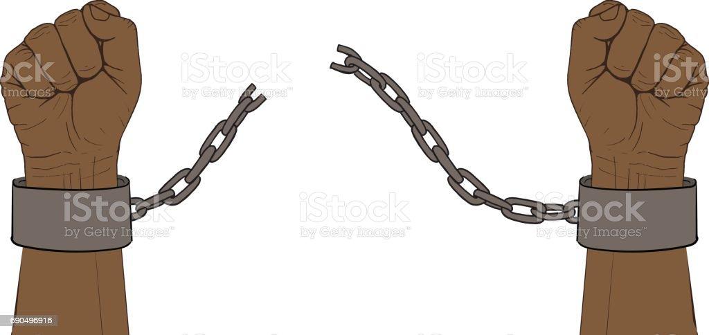 Hands with broken chain vector art illustration