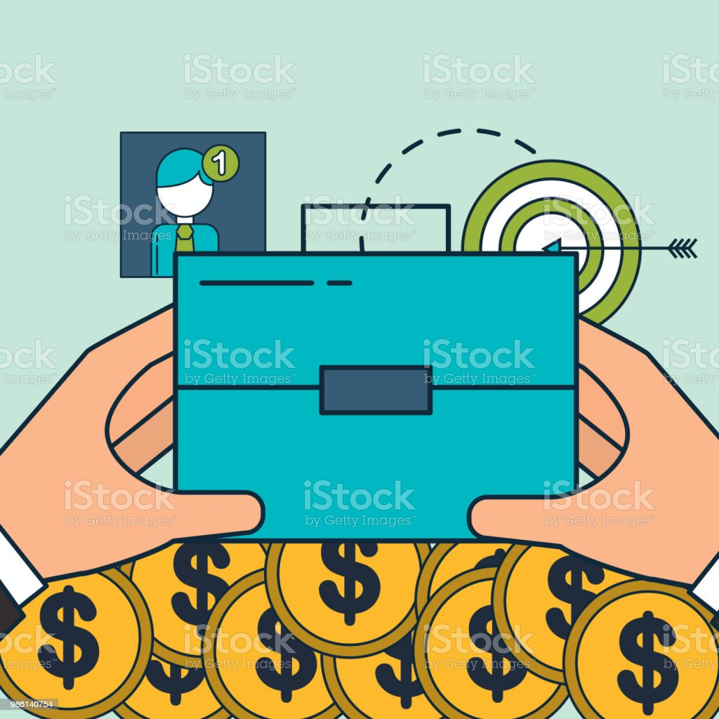 hands with business briefcase money target digital marketing stock
