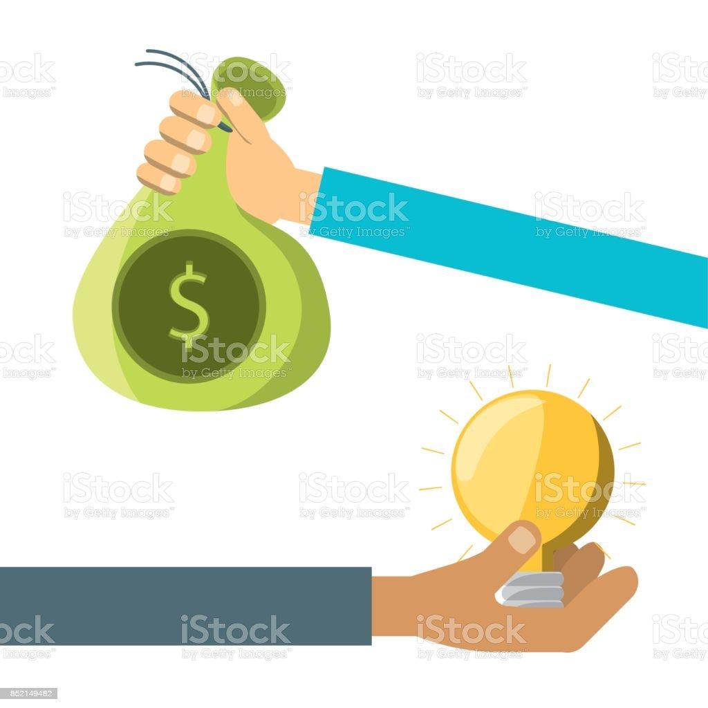 manos con proyecto empresarial a la financiación de la empresa - ilustración de arte vectorial