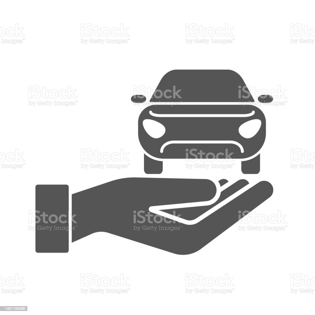 Hands with car vector icon. Car Insurance Concept for Poster, Web Site, Advertising with Auto, Policy, Key, Jerrycan and Manometer Icons. vector illustration vector art illustration