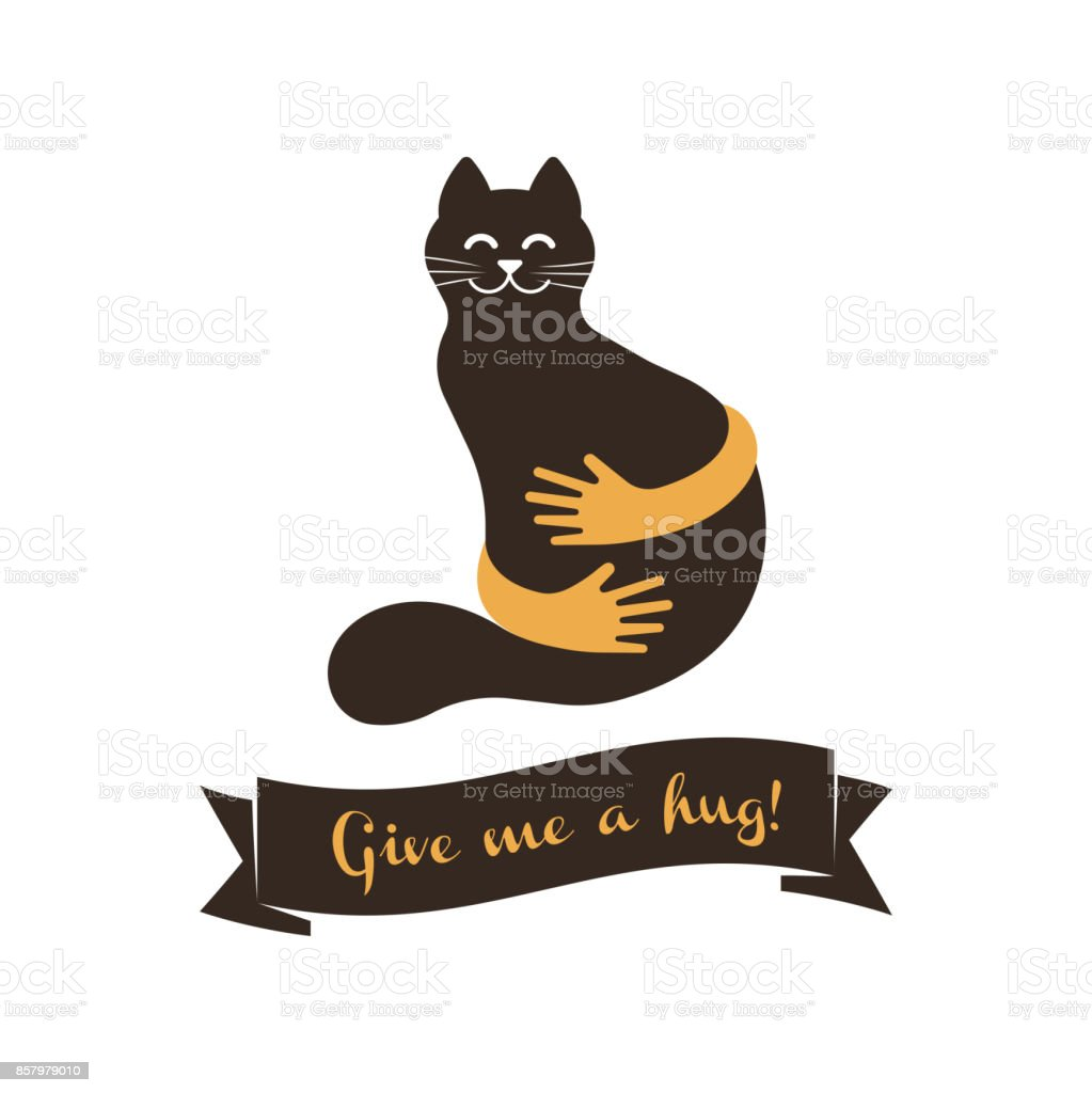 Hands With Cat Silhouette Symbol Pets Care Vector Sign Template Cat