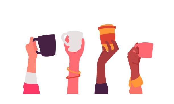 bildbanksillustrationer, clip art samt tecknat material och ikoner med händer med kaffe koppar vektor illustration - kaffekopp