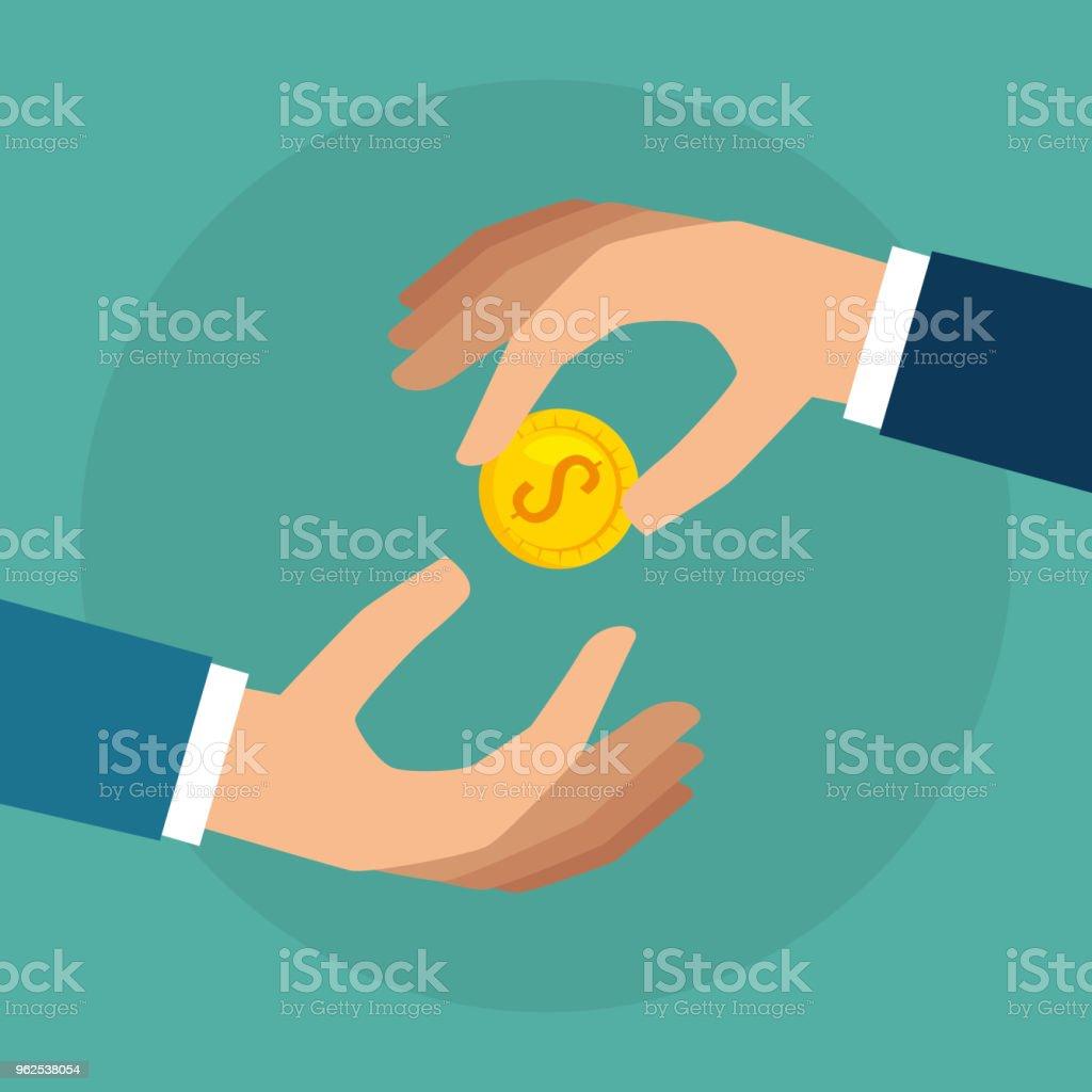 mãos com ícone isolado de moeda dinheiro - Vetor de Antiguidades royalty-free