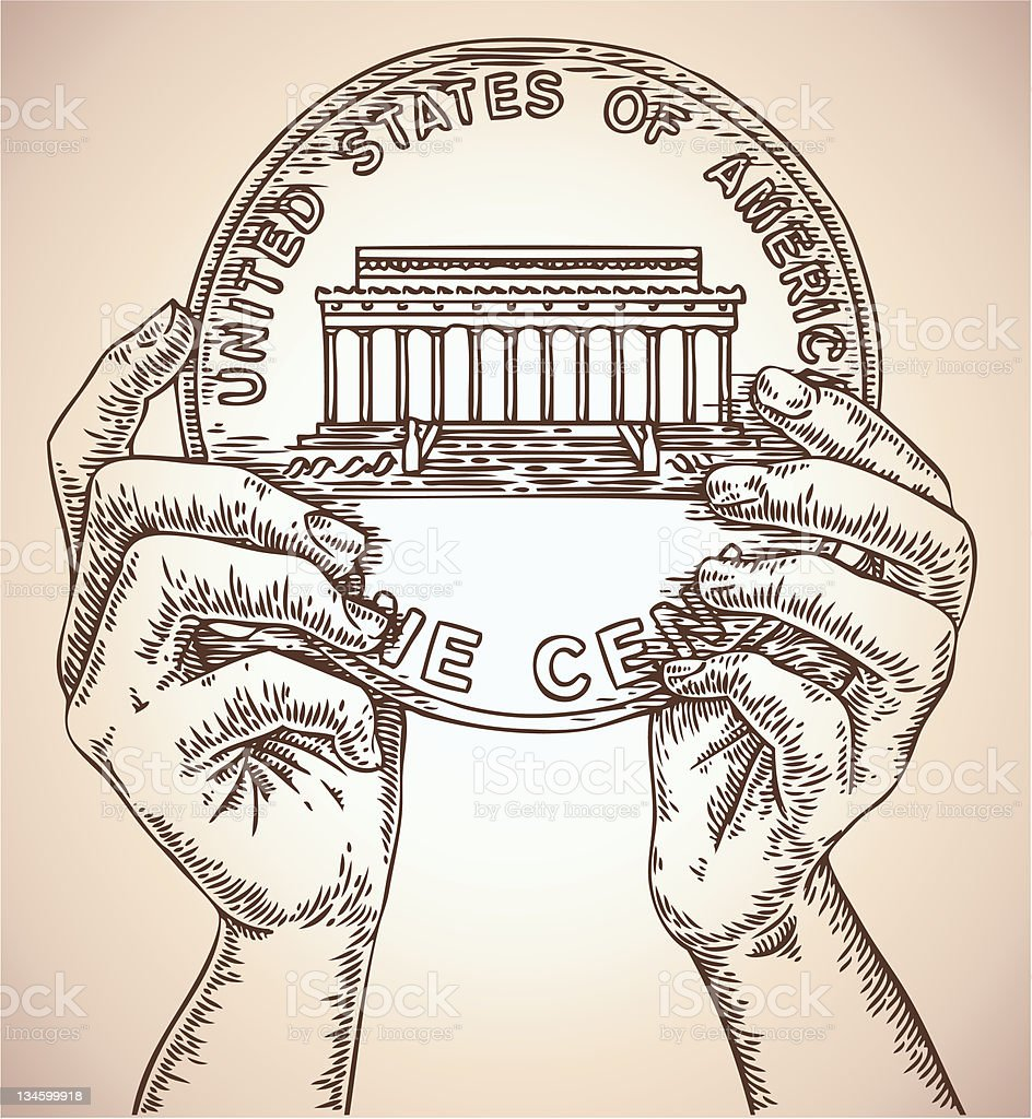 hands with coin vector art illustration