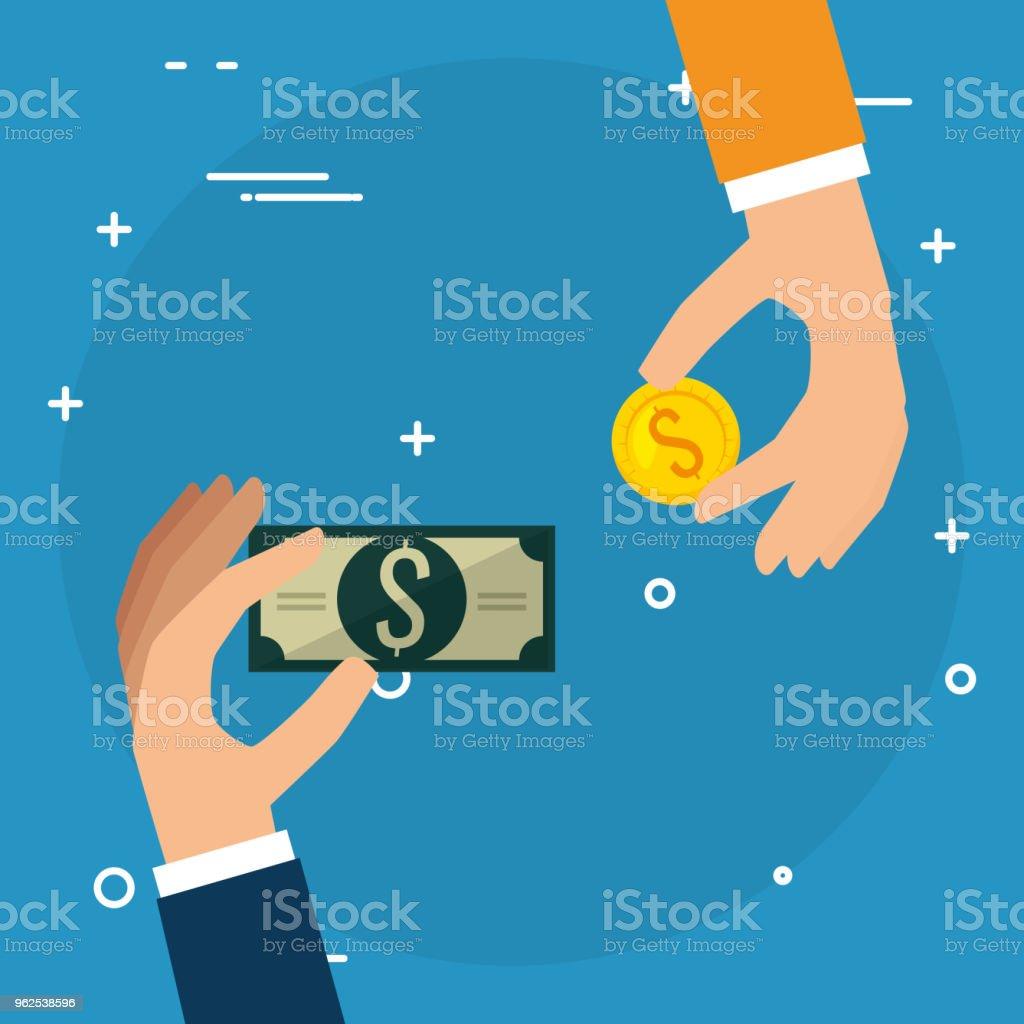 mãos com moedas e notas de dólares de dinheiro - Vetor de Antiguidades royalty-free