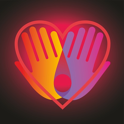Hands with colorful overlay effect togheter with a transparent heart. Vector illustration.