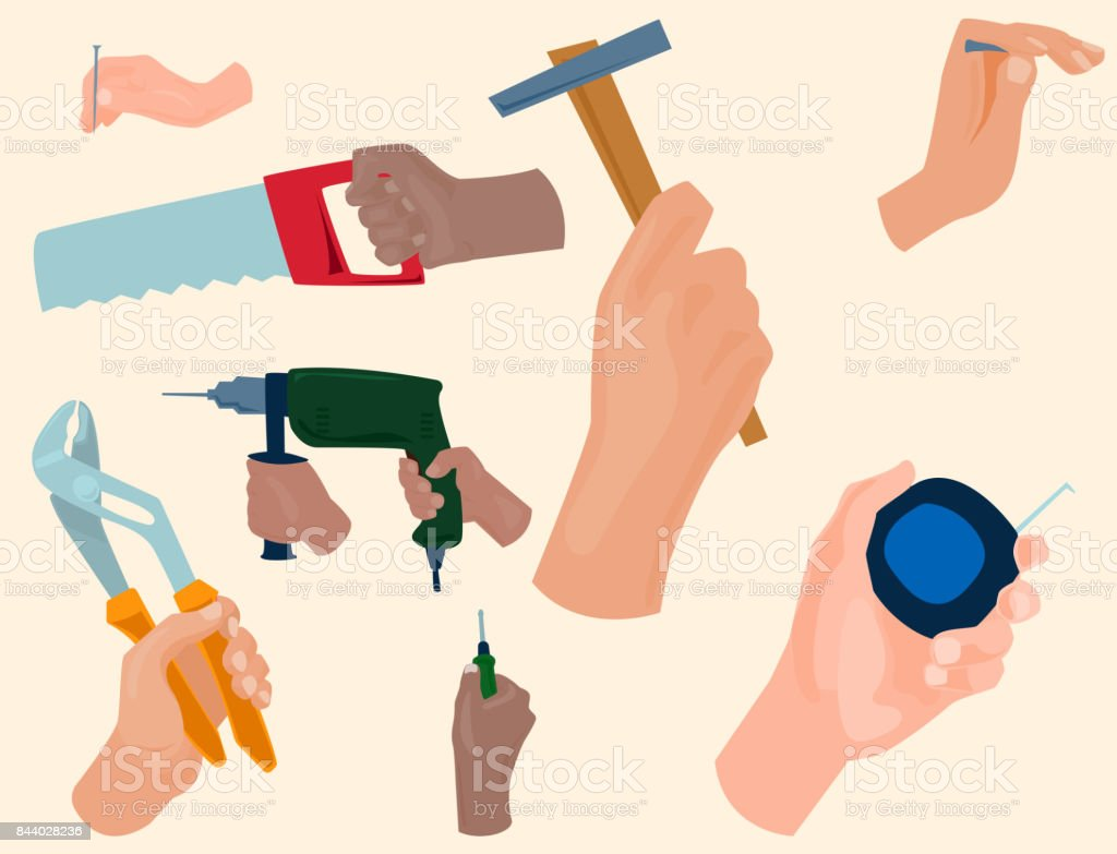 hands with construction tools vector cartoon style house