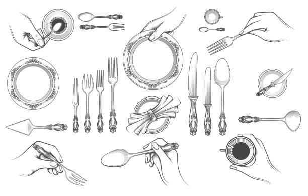 illustrazioni stock, clip art, cartoni animati e icone di tendenza di hands with cutlery - galateo a tavola
