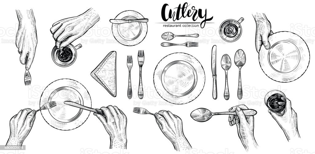 Hands with cutlery, vector line illustrations. Top view on table setting with dining people.