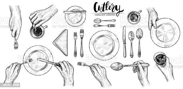 Hands with cutlery vector line illustrations top view on table with vector id880933998?b=1&k=6&m=880933998&s=612x612&h=bwaul2crbr 3uvymjnwwsxdgq4wwuwxysgw0asxrjxa=