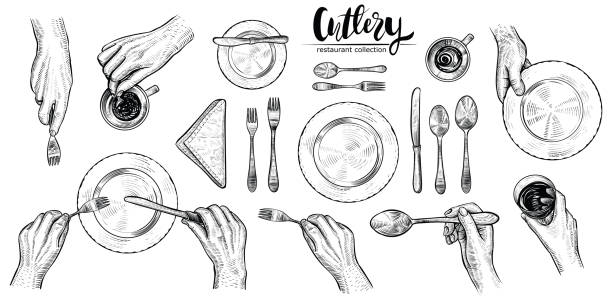 illustrazioni stock, clip art, cartoni animati e icone di tendenza di hands with cutlery, vector line illustrations. top view on table setting with dining people. - piatto stoviglie