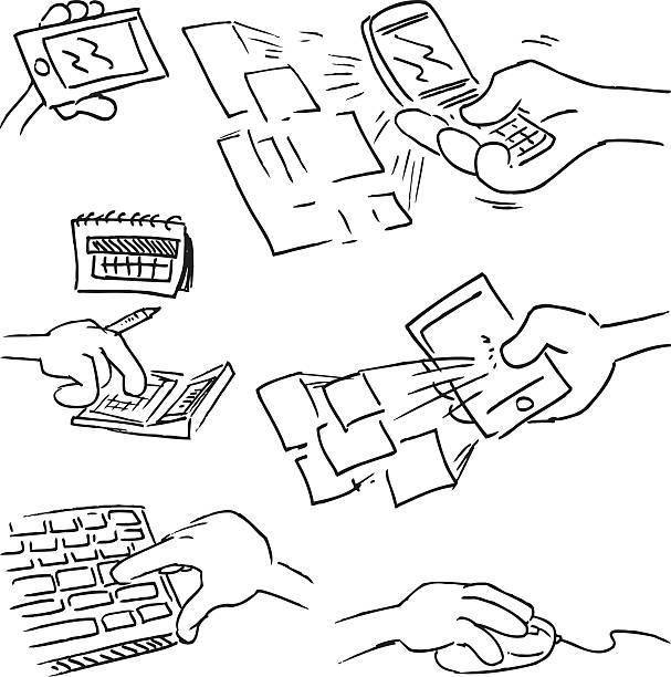 руки с устройствами - hand holding phone stock illustrations