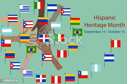 istock hands with different color and Flags of America. 1326822076