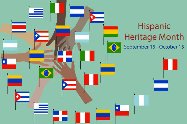 hands with different color and Flags of America. National Hispanic heritage month and culture theme Vector illustration, hands with different color and Flags of America. hispanic heritage month stock illustrations