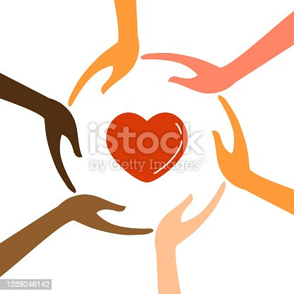 istock Hands with different colors with heart vector 1259246142