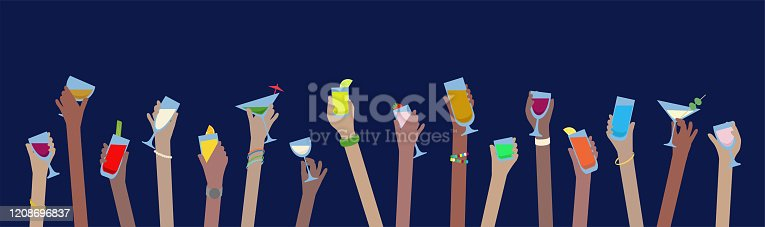 istock Hands with drinks banner of alcohol in glasses celebrate at Party 1208696837